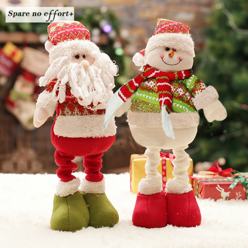 Retractable Christmas Santa Claus Snowman Dolls Standing Navidad Figurine Tree Ornaments Kids Gifts