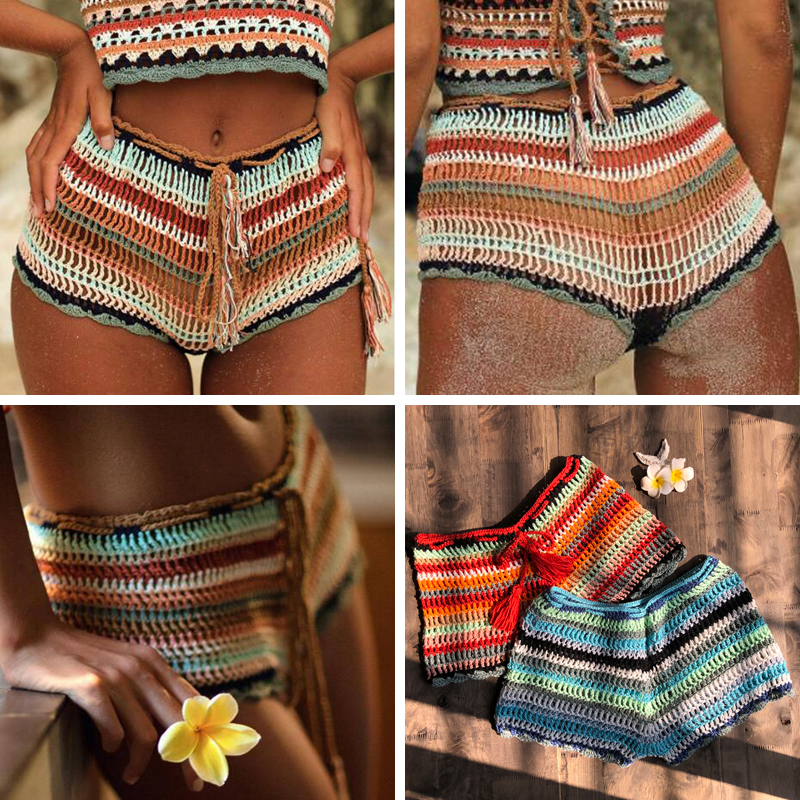 Crochet Stripe Shorts Women Summer Beach Boho 2019 Mid Waist Cotton Shorts Girls Sexy Slim Shorts Femme Bottoms 100% Handmade