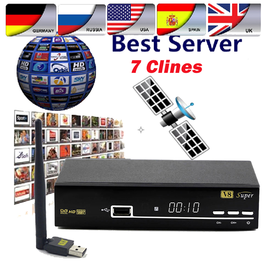 V8 Super DVB-S2 Ricevitore Satellitare Full HD 1080 P Chiave Biss newcam IPTV Youporn full set con 1 Anno Europa clines Server
