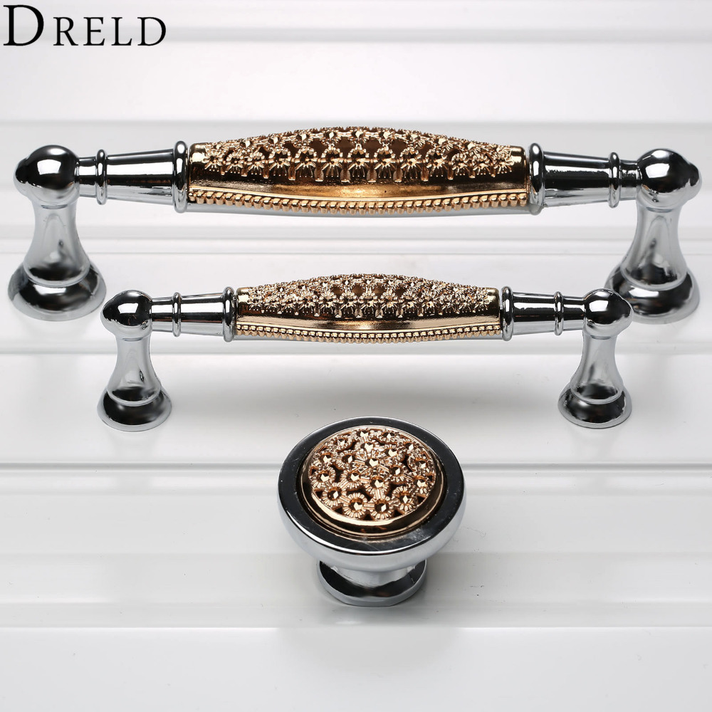 DRELD 2017 Furniture Handles Cabinet Knobs and Handles Wardrobe Door Pulls Dresser Drawer Handles Kitchen Cupboard Handle furniture drawer handles wardrobe door handle and knobs cabinet kitchen hardware pull gold silver long hole spacing c c 96 224mm
