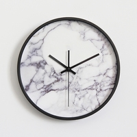 Marble Pattern Wall   Clock   Fashionable Vogue European Luxury Unique Round Silently Quartz Needle Wall   Clock   for Decor