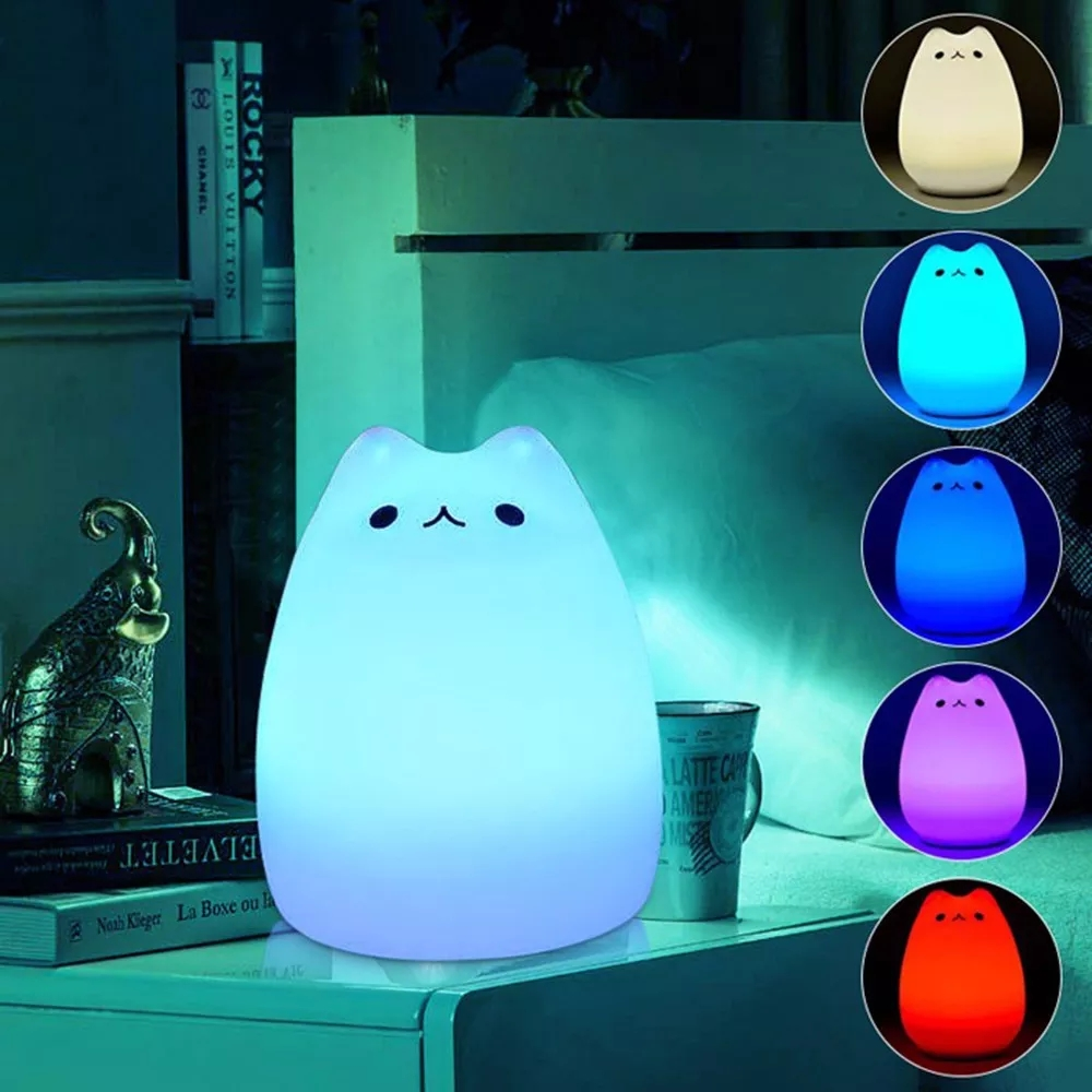 LED Silicone Soft Night Light Lamp 7 Colors Changeable Cute Cat Sensitive Tap Control Bedroom Night Lights For Children Kids