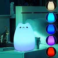 LED Silikon Weiche Nacht Licht Lampe 7 farben Veränderbar Nette Katze Empfindliche Tap Control schlafzimmer nacht lichter für Kinder Kinder