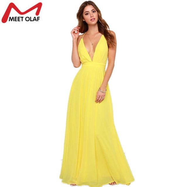 418b35a7241 Women Summer Maxi Dress Female Sexy Deep V-neck Evening Party Spaghetti  Strap Chiffon Dresses