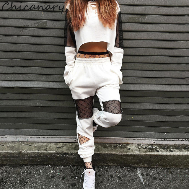 4b6e3357f92 Chicanary Mesh Patchwork Women Tracksuits with Key Hole Casual Contrast  color Crop Tops Jogger Sets Crew Hoodies Pants Sets