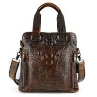 New Fashion Crocodile Grain 100 Genuine Leather Men Business Handbag Cow Leather Men S Messenger Bag