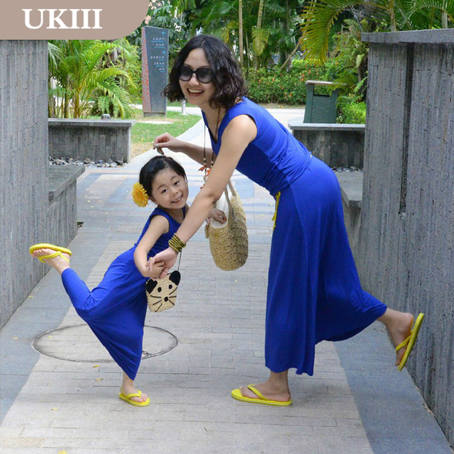 8da0f55d6e06 Family suits Vacation Holiday Royal blue cotton Long beach dress skirt  matching mother Girl dress and