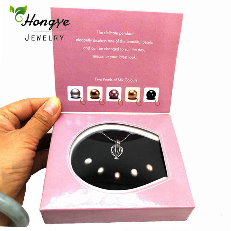 Hongye Wish Pearl Love Heart Cage 1 Box Chokers Necklace for Women With Pendants Freshwaer Pearl Necklace Oyster Gift Box