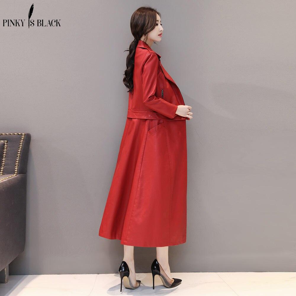 PinkyIsBlack 2019 Fashion X-Long AutumnLeather Jacket Women Winter Plus Size 4XL Detachable Faux   Leather   Coat Female Windbreaker