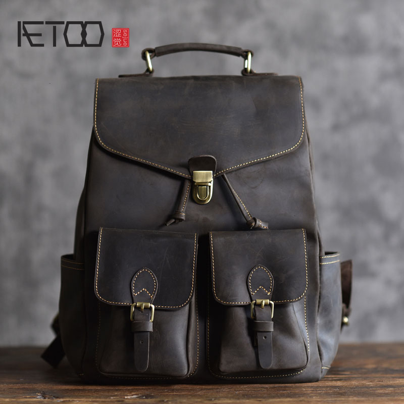 цена на AETOO New British crazy crazy horse leather shoulder bag college limelight cowhide retro backpack men's computer bag