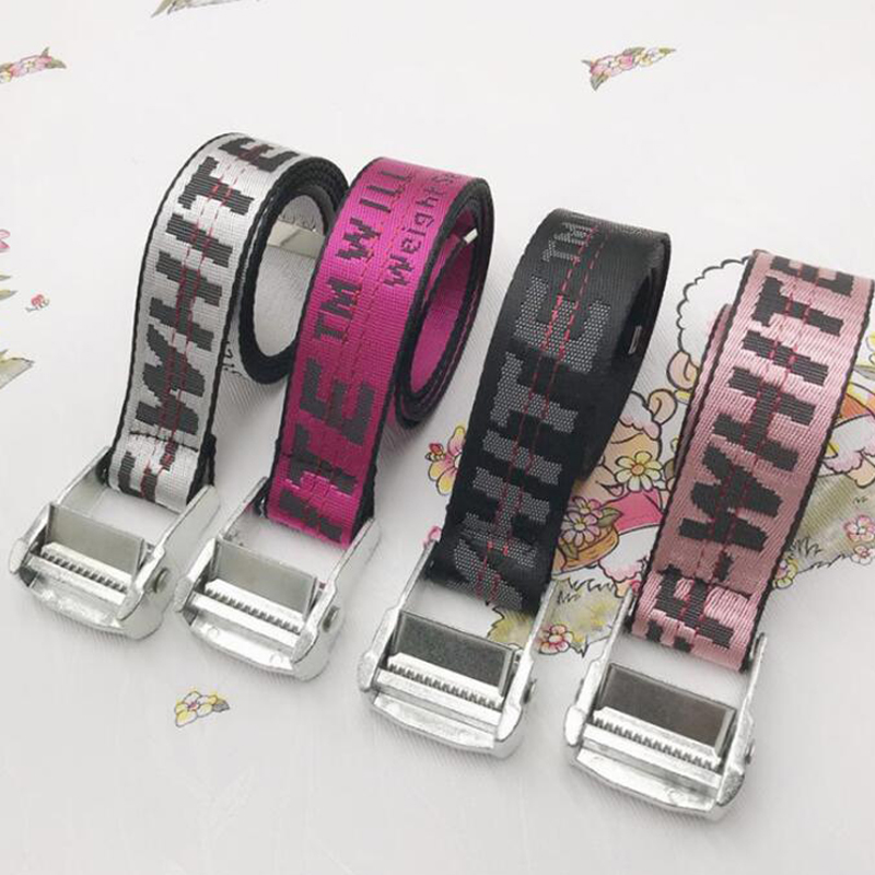 Punk Length 115-200cm Embroidery Waist Strap Belt Letters Canvas Belt For Women Men
