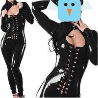 Passion Women Lady Sexy Lingerie Black PVC Wet Look Sexy Lingerie Bodysuit Lycra Erotic Catsuit Pole