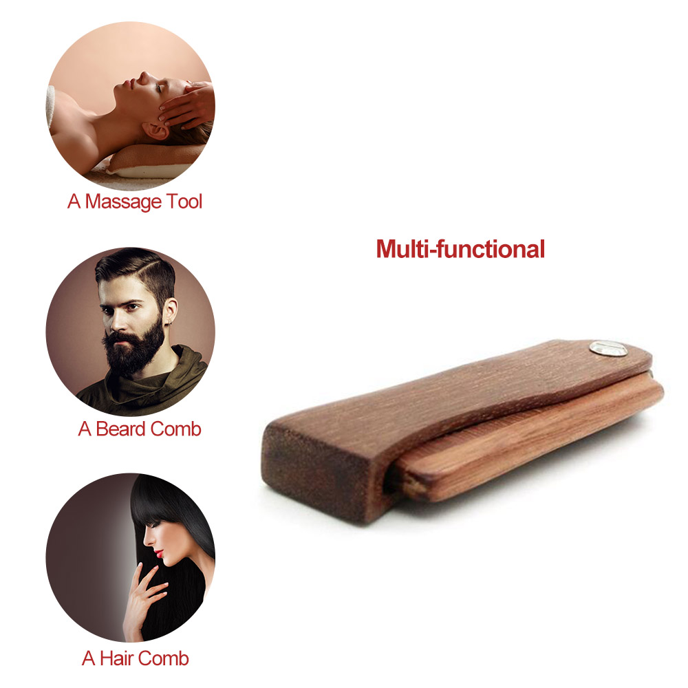 Abody Foldable Hair Comb Beard Comb Portable Wooden Comb Massage Hairbrush Anti Static Hairbrush For Health Care combs for hair