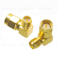 10Pcs Adapter 90 Degree RP SMA Male Jack To RP SMA Female Plug Connector Right Angle