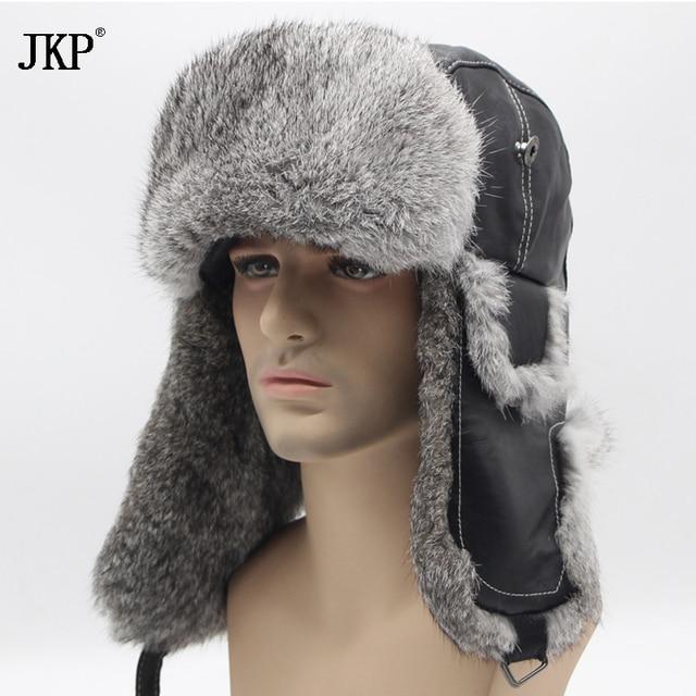 dab95fff398 Winter Hat For Men Women Real Rabbit Fur Cap Ear Warm Winter Ski Cap Bomber  Unisex Russia Fur Hat Real Leather Hats To Keep Warm