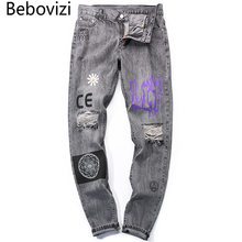 Bebovizi Hip Hop Men Jogger Denim Pants Skinny Washed Distressed Jeans 2019 Graffiti Print Streetwear Destroyed Ripped Jeans