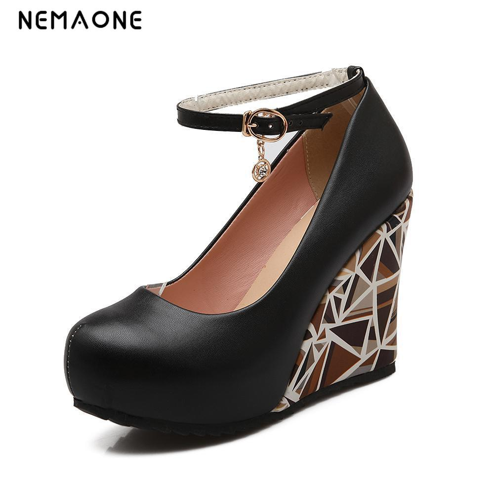 New Fashion Ankle Strap High Wedges Platform Pumps For Women Casual Elegant Wedges Platform Shoes woman xiaying smile summer new woman sandals platform women pumps buckle strap high square heel fashion casual flock lady women shoes