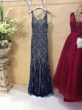 Marineblau Strass Kristall Abendkleid Plus Größe Echt Mermaid Pailletten Perlen Formales Kleid Robe De Soiree Longue RE02
