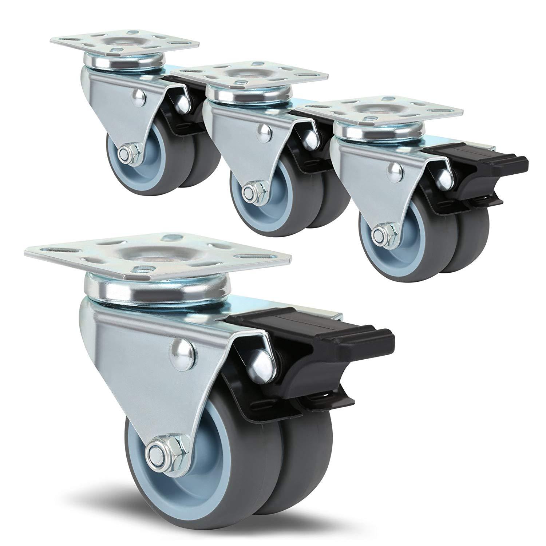 Tornillo M10 Ruedas de Transporte para Muebles de 50mm con Freno AMIGOB Set de 4 Ruedas Giratorias cada Carga 50KG