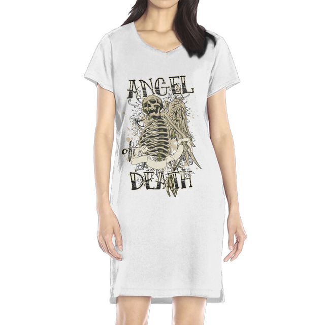 1141d14ed1a Autumn Fashion Women Casual Cute Short Sleeve Print Skeleton Angel or Death  Dresses Loose Plus Size T Shirts Long Tops