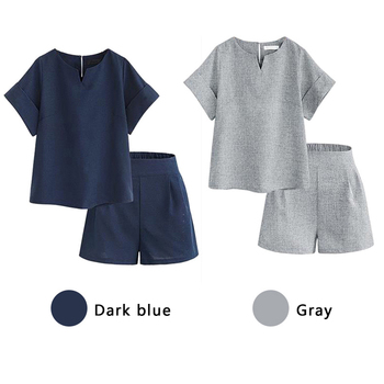 2019 New Hot V-Neck Short Sleeve Tops+Shorts Two Piece Set Summer Women'S Costumes Casual Cotton Linen Female Office Suit Set 1