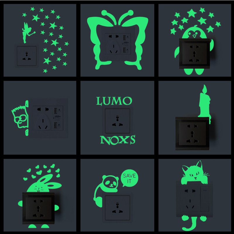 6pcs Multiple Styles Luminous Cartoon Switch Sticker Fluorescent Fairy Moon Stars Sticker Kid Room Decoration Home Decor 5ZDZ202