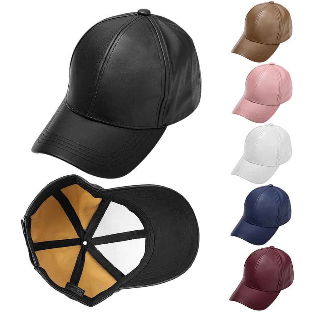 Women Men PU Leather   Baseball     Cap   2019 Unisex Snapback Outdoor Adjustable Trucker Hats Casual Men Bone Casquette Sun Hat Gorras