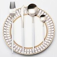 4Pcs Set Silver 304 Stainless Steel Dinnerware White Handle Silverware Set Steak Fork Knife Scoops Cutlery