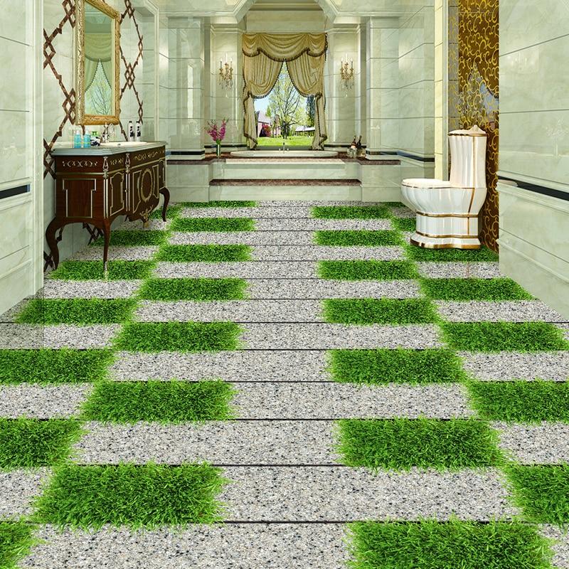 Stones Meadow Small Road 3D Balcony Floor Mural Custom Living Room Restaurant Bathroom Floor PVC Self-adhesive Sticker Wallpaper