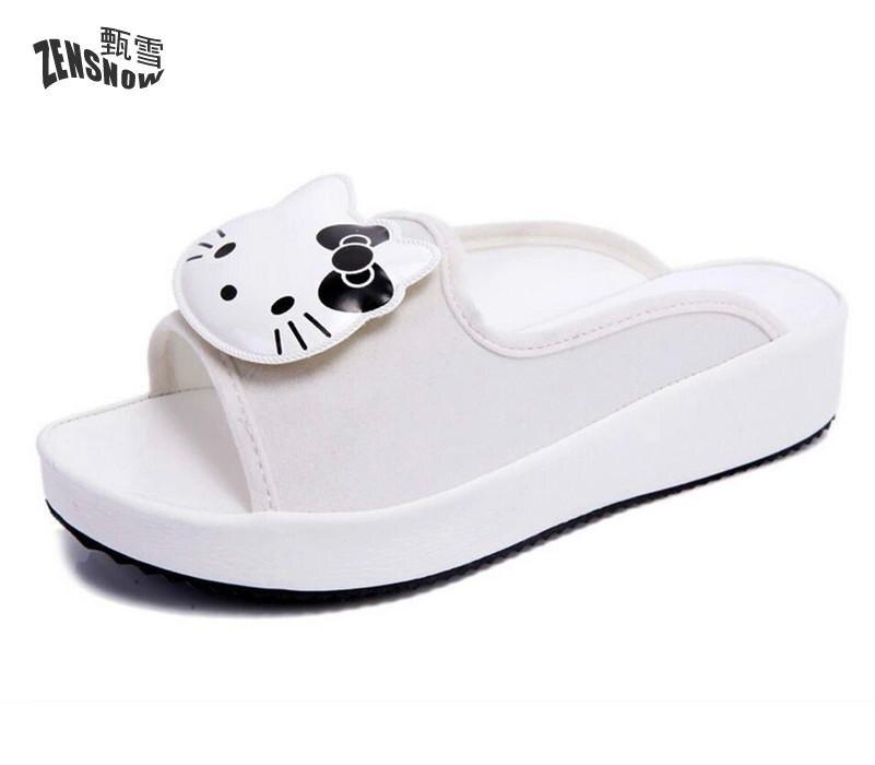 Glimlach Zomer Vrouwen Slippers Mode Casual Stijl Sandalen Creeper Slides Flats Leuke Hello Kitty Carton Animatie Schoenen