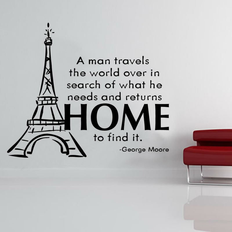 A Man Travels The World Diy Removable Eiffel Tower Wall Sticker