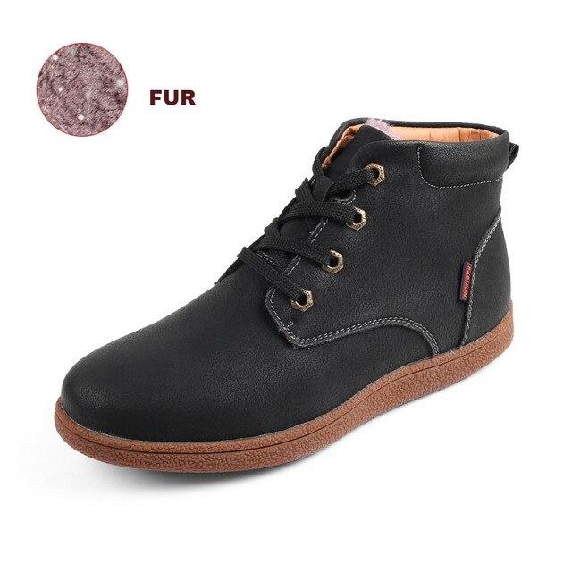 Erkekler yüksek kalite Vintage erkekler sıcak ayakkabı deri düz erkek yuvarlak çizmeler sonbahar kış yarım çizmeler moda ayakkabı bağcıklı ayakkabı