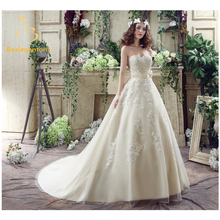 2017 New Sexy Sweetheart Lace A-Line Wedding Dresses With Appliques Bow Floor-Length Plus Size Bridal Gowns Robe De Mariage W284