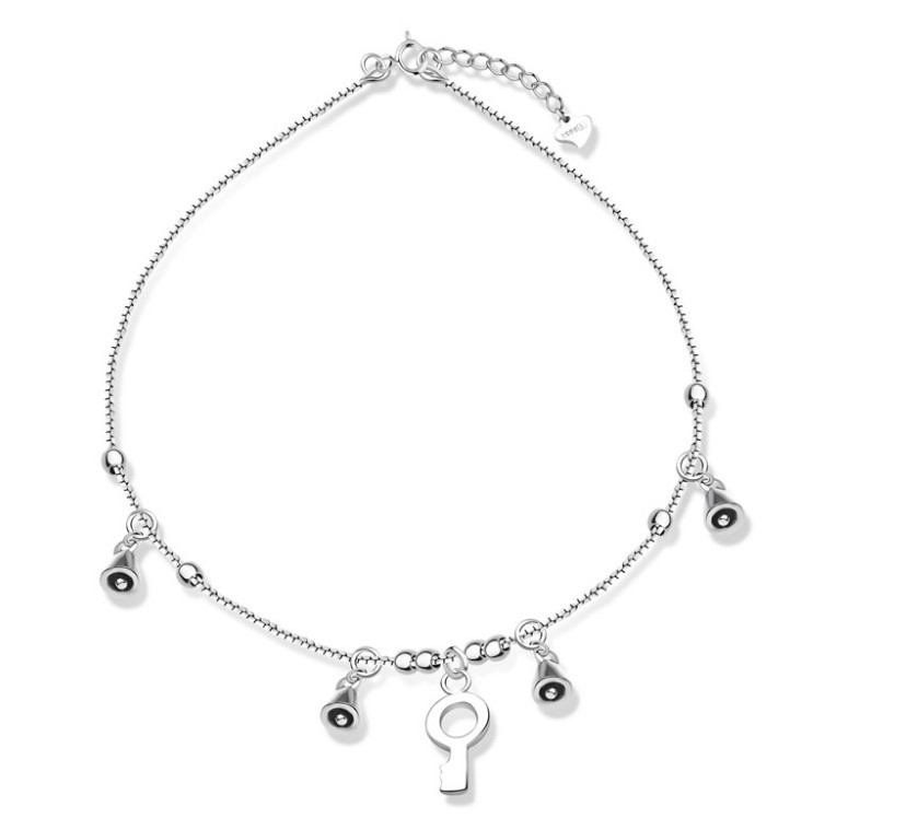 Plata 925 Sterling Silver Women Allergy Free Key Bell Charm de cheville Tornozeleiras F160601 Anklets