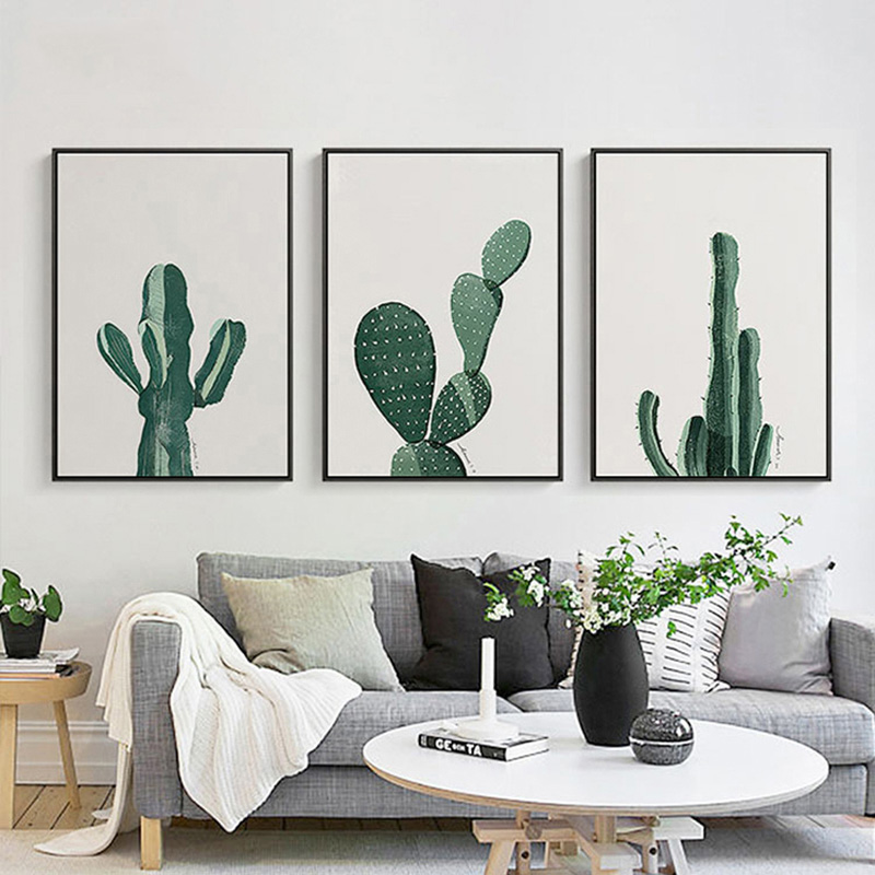 Modern Style Cactus Plant Art Wall Decor Picture Creative Canvas Art Painting Print Poster For Living Room Home Decor No Frame