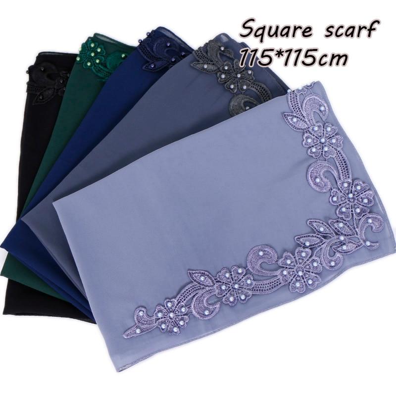 115cm Square Flower Hijab Beads Scarf Plain Maxi Pearls Wraps Shawls Muslim Scarves Headband Wraps Islamic Scarves 10pcs/lot