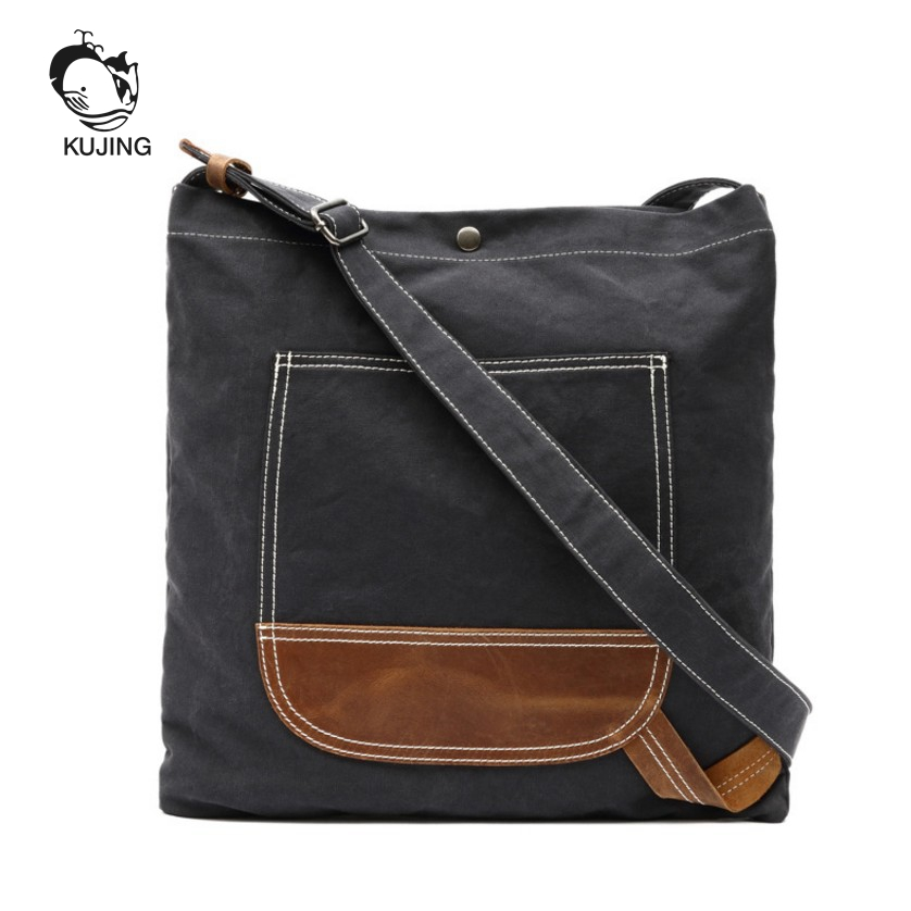 KUJING Canvas Bag High-grade Men And Women Shoulder Messenger Bag Hot Leather Shopping Bag Cheap Luxury Travel Leisure Package japanese pouch small hand carry green canvas heat preservation lunch box bag for men and women shopping mama bag