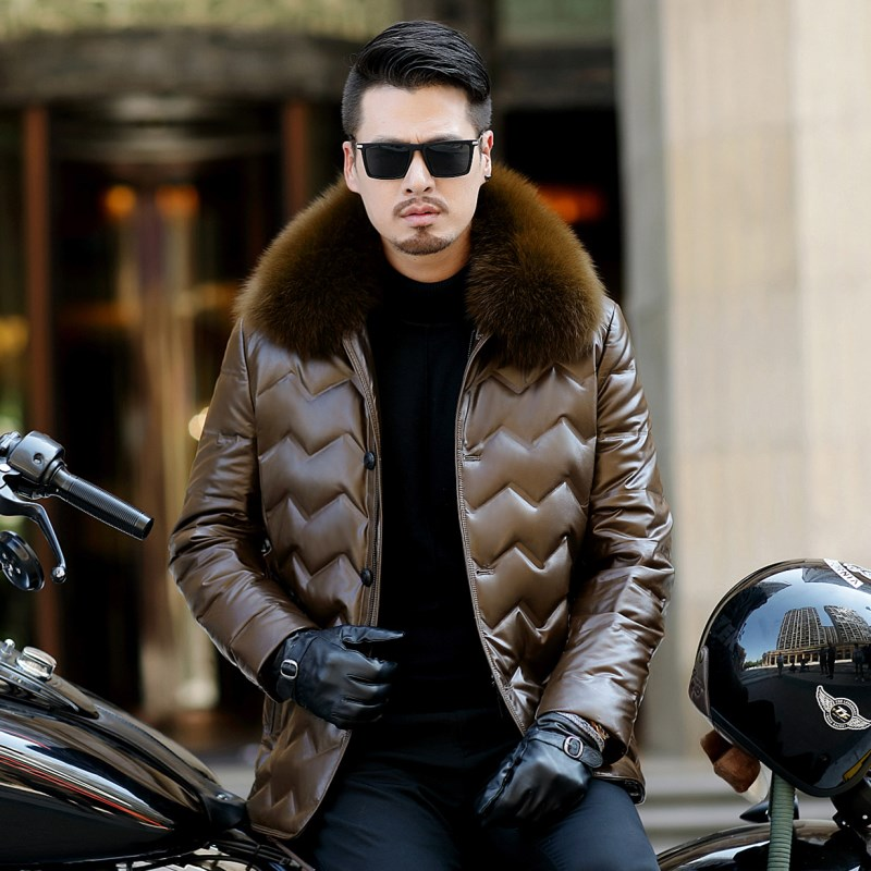 Jaqueta Couro Sale Men Engine Leather Parka Winter Down Jacket 2018 New Middle aged Sheep Coats Jaqueta Couro Sale Men Engine Leather Parka Winter Down Jacket 2018 New Middle-aged Sheep Coats Large Size Outerwear Male No520