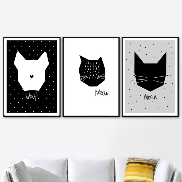 Scandinavian Abstract Cat Dog Wolf Black White Wall Art Canvas Painting Nordic Posters And Prints Wall Pictures Kids Room Decor