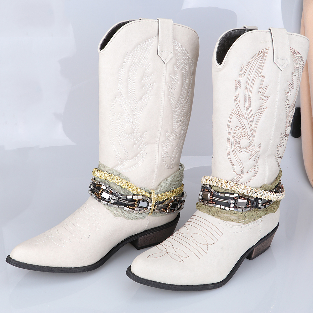 Vintage Western Cowboy Boots for Women Cowgirl Boots Pointed Toe Women Boots 3 5cm Mid Heel