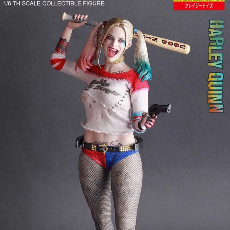 ALEN Crazy Toy Harley Quinn Figure Suicide Squad Jokers Girl Kids Avtion Figure Toys Gift 29cm