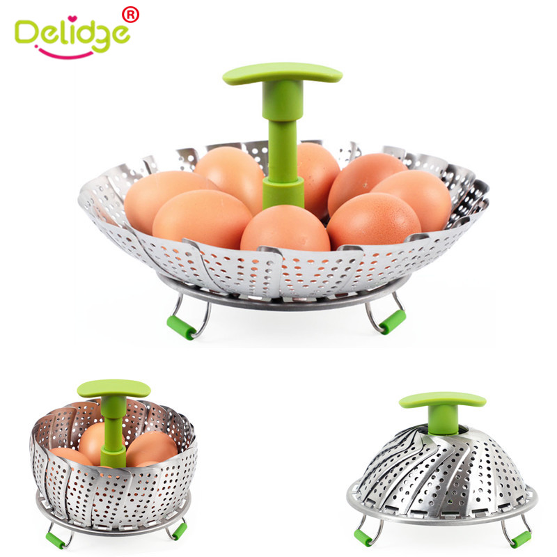 Delidge 1 Pc Steaming Basket Stainless Steel Lotus Shape Steamers Extendable Handle Vegetable Egg Cooker Kitchen Tools Cookware