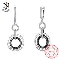 INALIS Fine Jewelry 925 Sterling Silver Round White Black Ceramic Drop Earrings Zircon Dangle Earrings Fashion