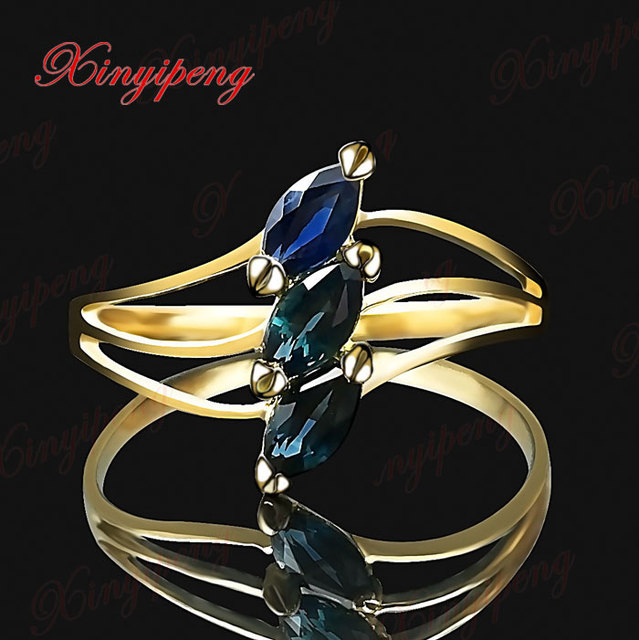 18 k gold inlaid natural sapphire ring