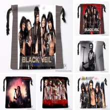 Custom Black Veil Brides Drawstring Bags Printing Travel Storage Mini Pouch Swim Hiking Toy Bag Size 18x22cm#180412-11-70
