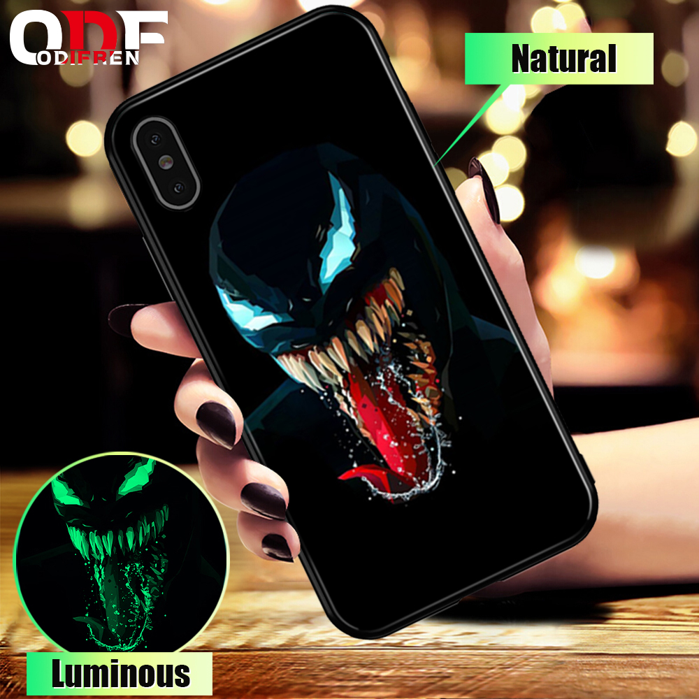 Marvel Venom Glass Case For iPhone 7 8 Plus Case For iPhone X XS MAX XS Luxury Silicone Phone Cases For iPhone 6 S 6S Plus      (China)