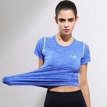 Women's Sports T-Shirts Short Sleeve High Elastic Quick Dry Fitness Running outdoor Shirt Sportswear