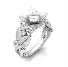 Luxury Jewelry 925 Silver Filled AAA Cubic Zirconia Flower CZ Party Women Wedding Band Ring For Lovers' Gift With Box