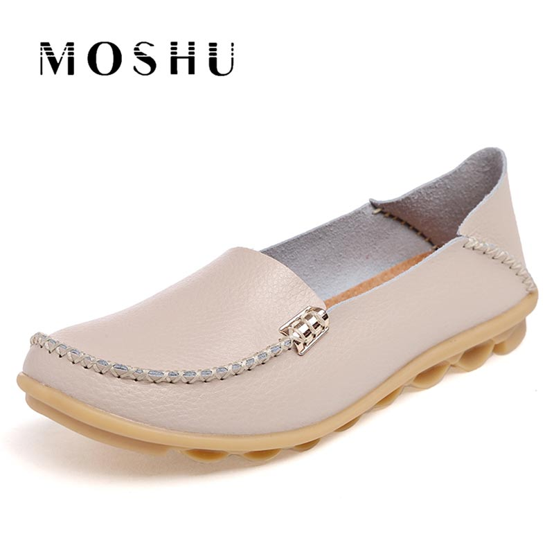 Moccasins Women Loafers ballet flats Genuine   Leather   shoes women Summer ladies Casual Shoes Slip On mocassin femme