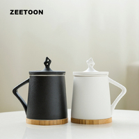 320ml Creative Ceramic Mug with Lid Filter Bamboo Saucer Kit Drinkware / Office Master Tea Water Separate Cup Coffee Milk Cups